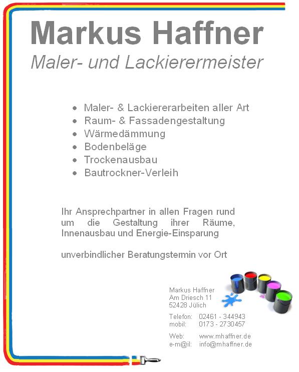 markus haffner maler und lackierermeister j lich. Black Bedroom Furniture Sets. Home Design Ideas